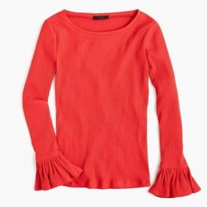J. Crew Red Ribbed Bell Sleeve Top